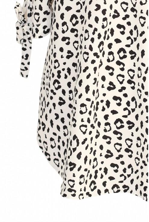 Biała bluzka hiszpanka w panterkę - CHERYL - detal