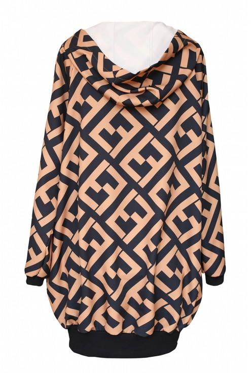 Czarno-camelowa bluza z geometrycznym wzorem