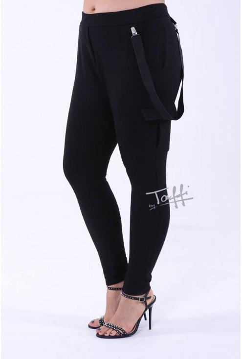 czarne spodnie z szelkami i kieszeniami plus size xxl