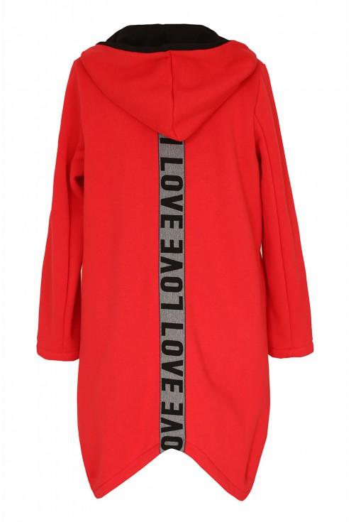 Czerwona dresowa bluza z napisem LOVE - tył