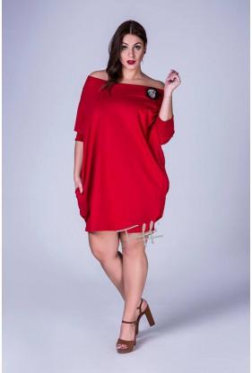 Czerwona tunika ze ściągaczem w rękawie w dużych rozmiarach plus size w sklepie XL-ka.pl