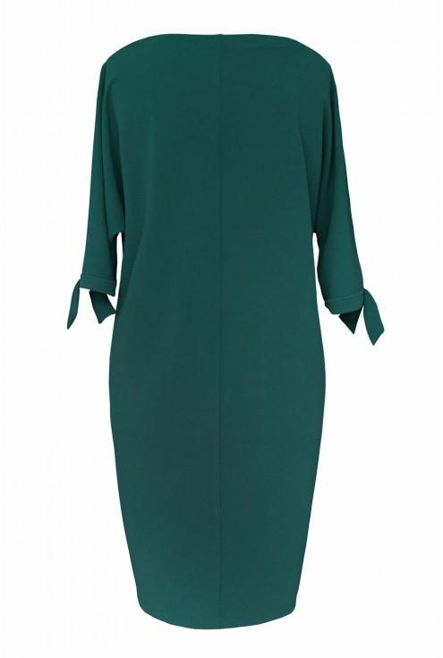 Butelkowa sukienka z kieszeniami - tył