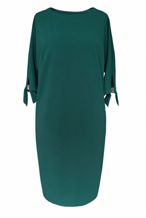 Sukienka z kieszeniami w kolorze butelkowym - przód