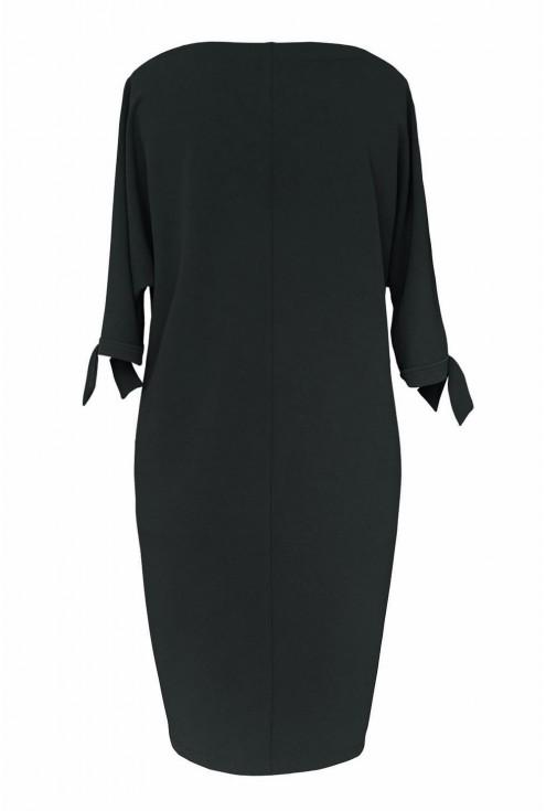 Czarna sukienka z ozdobnym rękawem - tył