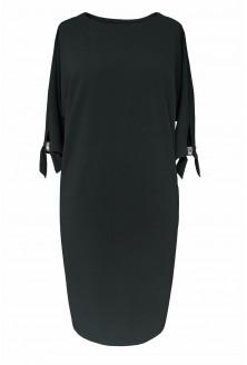 Czarna sukienka z kieszeniami - przód