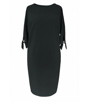 Czarna sukienka z biżuteryjną klamerką - CINDY