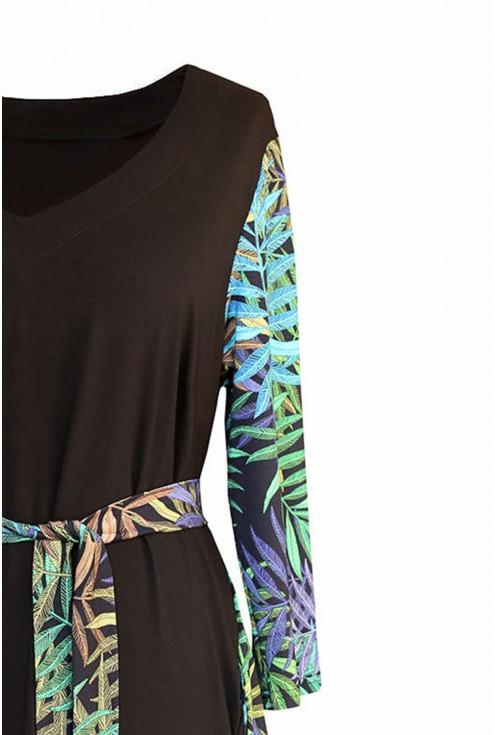 Czarna sukienka z wzorem w zielone liście - LORNA