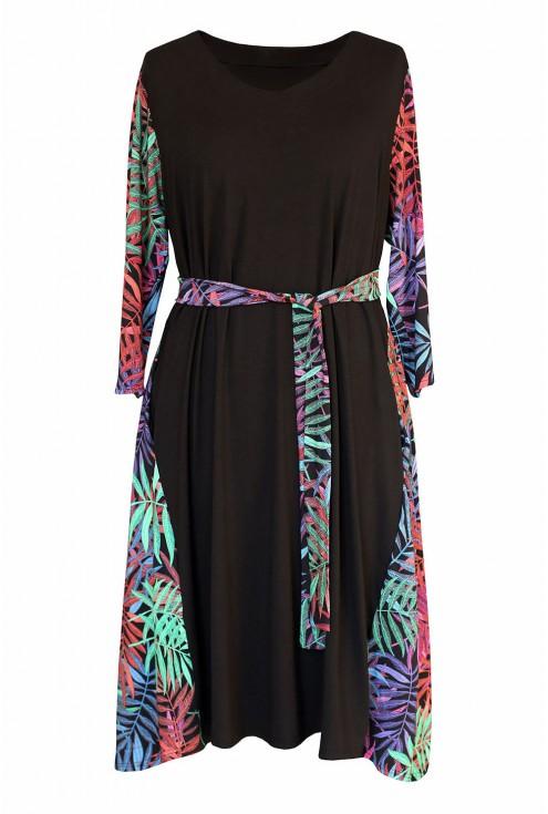 czarna sukienka w liście - przód