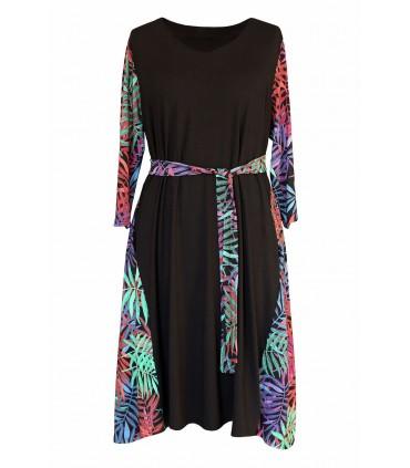Czarna sukienka w różowe liście - LORNA