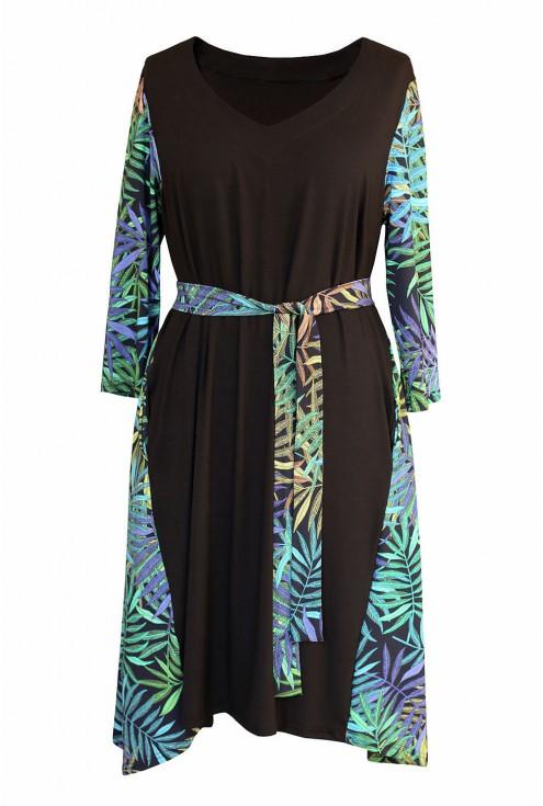 Czarna sukienka w zielone liście - przód