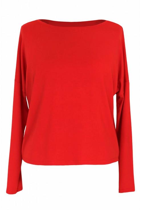Czerwona bluzka z długim rękawem xxl