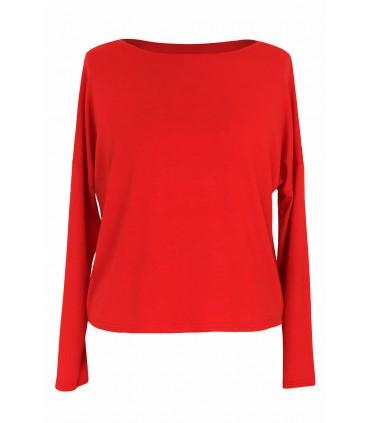 Czerwona gładka bluzka do spodni i spódnic z wysokim stanem AYA