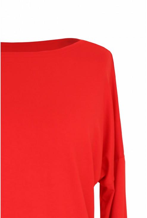 Dzianinowa czerwona bluzka z długim rękawem