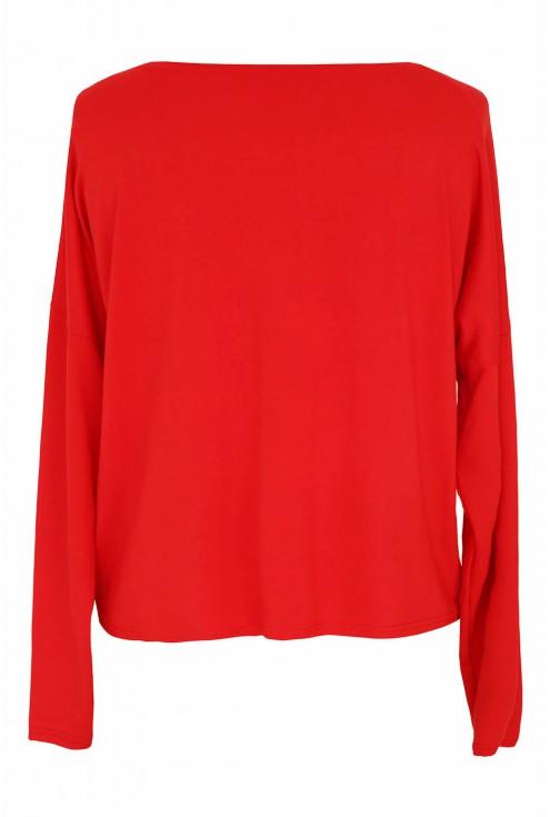 Czerwona bluzka z dzianiny xxl