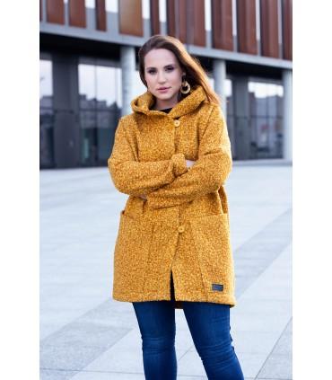 Musztardowy płaszcz oversize z kapturem TIFFANY