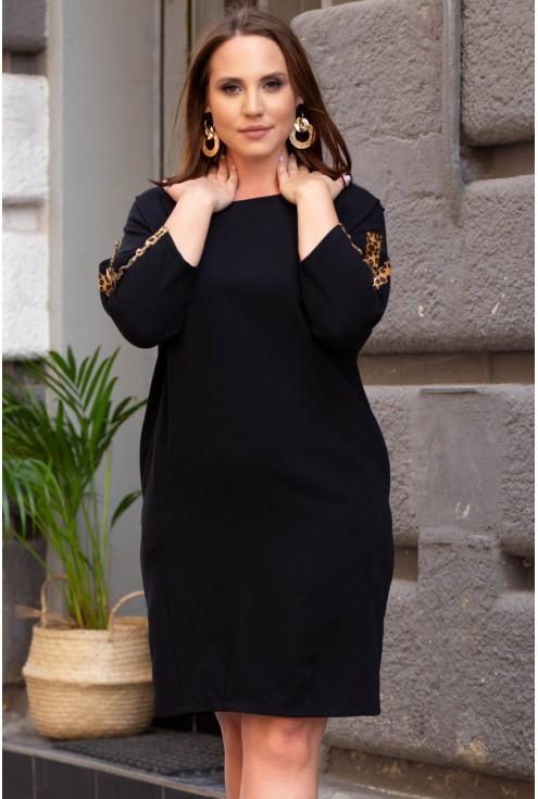 Czarna sukienka z taśmami w panterkę xxl