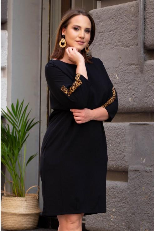 Czarna sukienka z lampasem xxl
