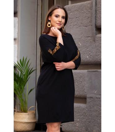 Czarna sukienka z ozdobnymi taśmami - NANCY