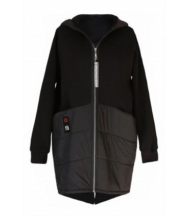 Czarna zapinana kurtka/bluza z kapturem - GWEN