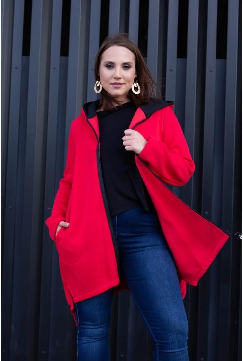 Czerwona bluza z napisami - przód
