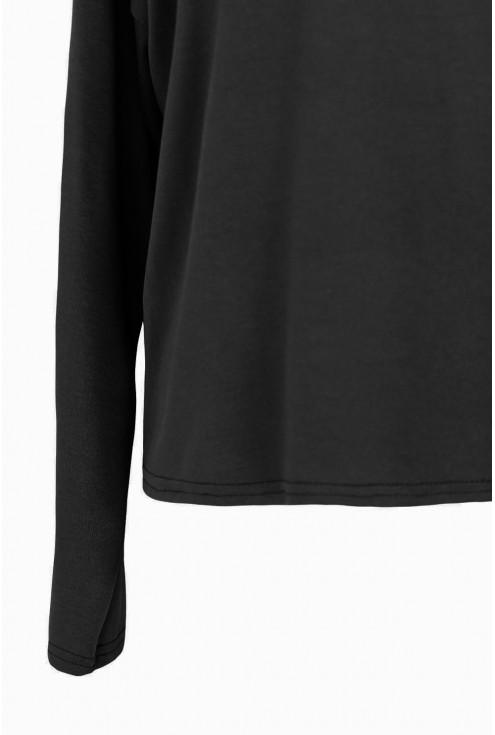 Czarna gładka bluzka do spodni xxl