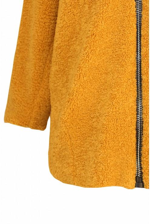 Miodowa kurtka-płaszczyk duże rozmiary