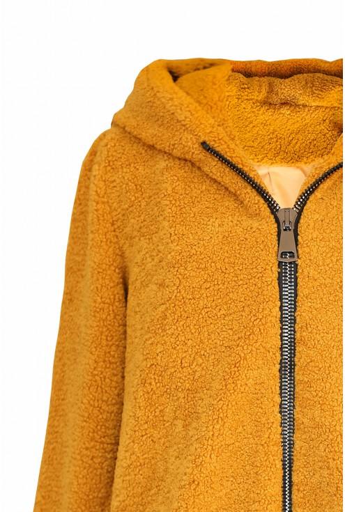 Miodowa kurtka-płaszczyk z kapturem xxl