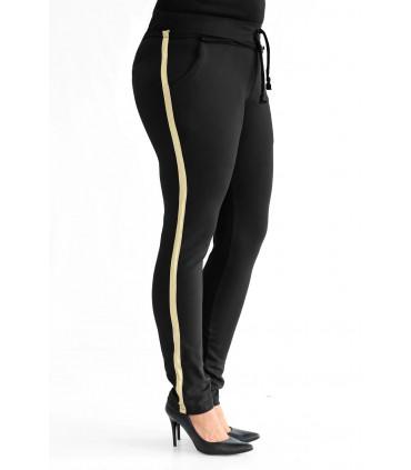 Czarne spodnie dresowe ze złotym lampasem - AGNES