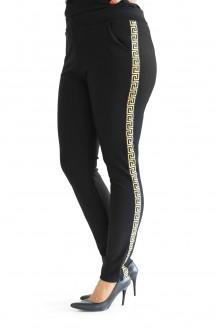 Wygodne, czarne spodnie ze złotym lampasem w rozmiarach plus size dla kobiet