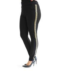 Czarne spodnie dresowe z lampasem w złoty wzór - CORNELIA