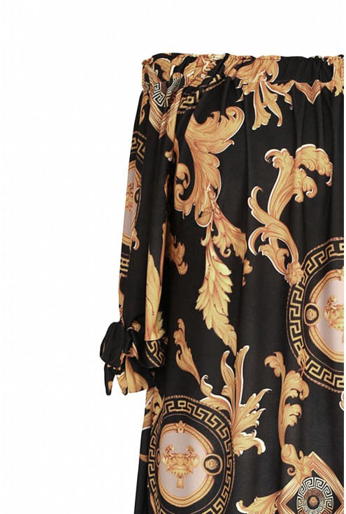 Czarna sukienka ze złotym wzorem w dużym rozmiarze nawet do 52.