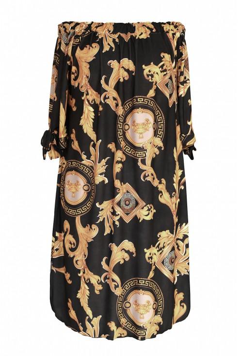 Przód czarnej sukienki ze złotym wzorem w sklepie XL-ka