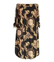 Czarna sukienka hiszpanka w złoty wzór - MARITA