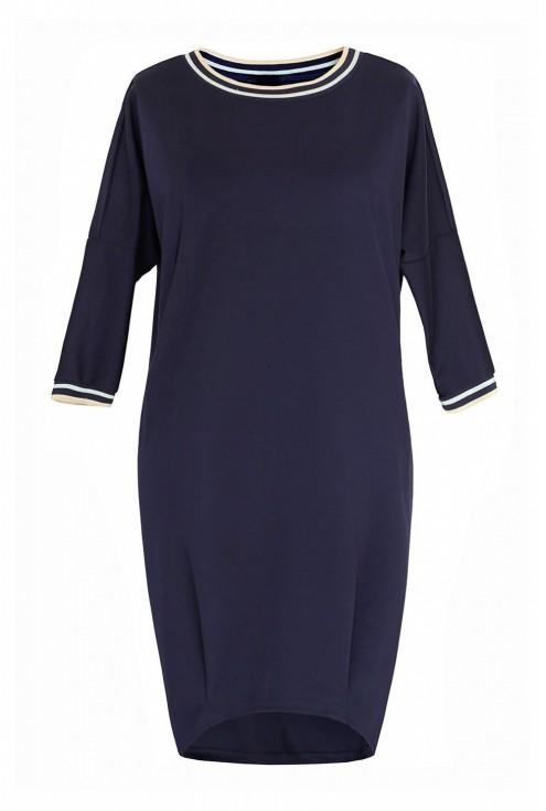 Granatowa sukienka z ozdobnym ściągaczem  xxl
