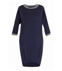 Granatowa sukienka z ozdobnym ściągaczem - GINA