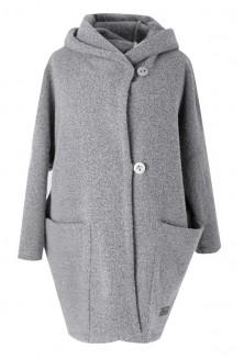 Jasnoszary płaszcz oversize z kapturem xxl