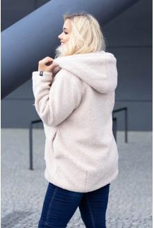 Płaszcz jasnobeżowy dla kobiet w rozmiarach plus size