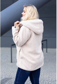 Płaszczyk jasnobeżowy dla kobiet w rozmiarach plus size
