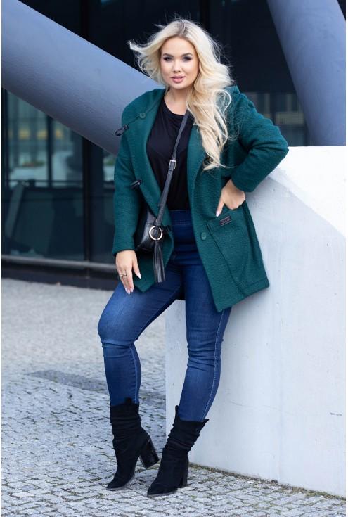 Zielony płaszcz dla kobiet w rozmiarach plus size