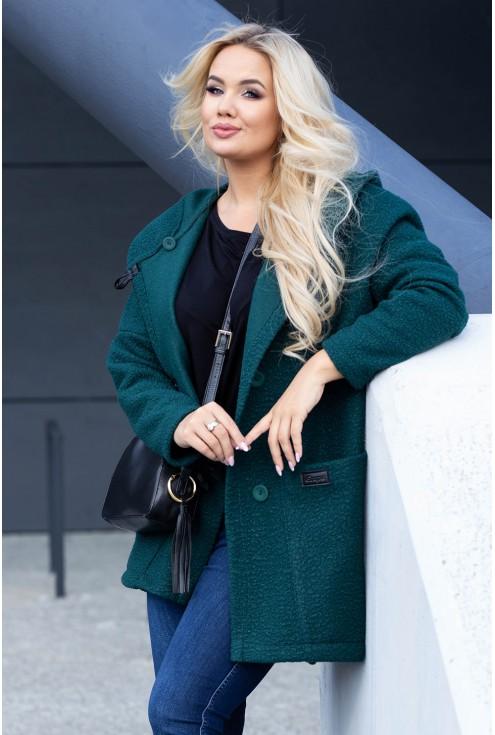 Wygodny, płaszcz w zielonym kolorze w dużym rozmiarze