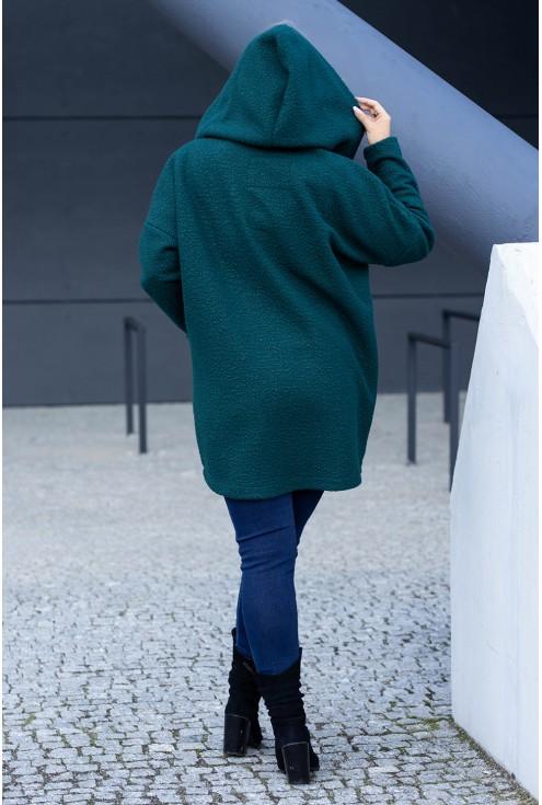 Zielony płaszczyk z kapturem plus size