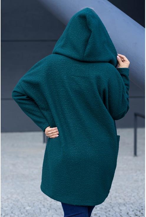 Butelkowa zieleń płaszcz oversize z kapturem TIFFANY