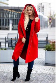 Czerwony płaszcz dresowy plus size z kapturem