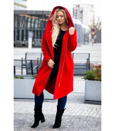 Czerwony płaszczyk dresowy plus size ARJA