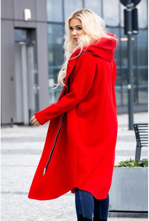 Płaszczyk w kolorze czerwonym z kapturem