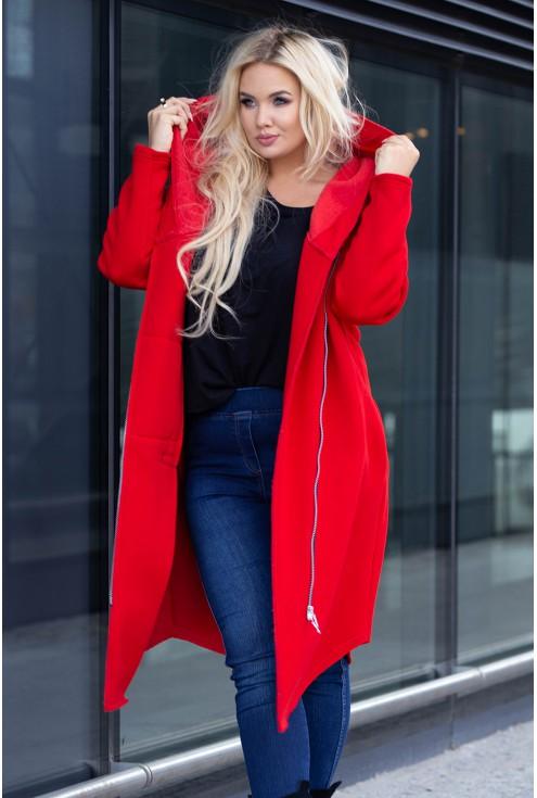 Czerwony płaszcz z zamkiem w dużych rozmiarach