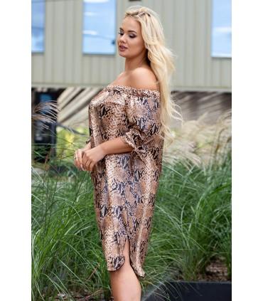Camelowa sukienka z wzorem w skórę węża - MARITA