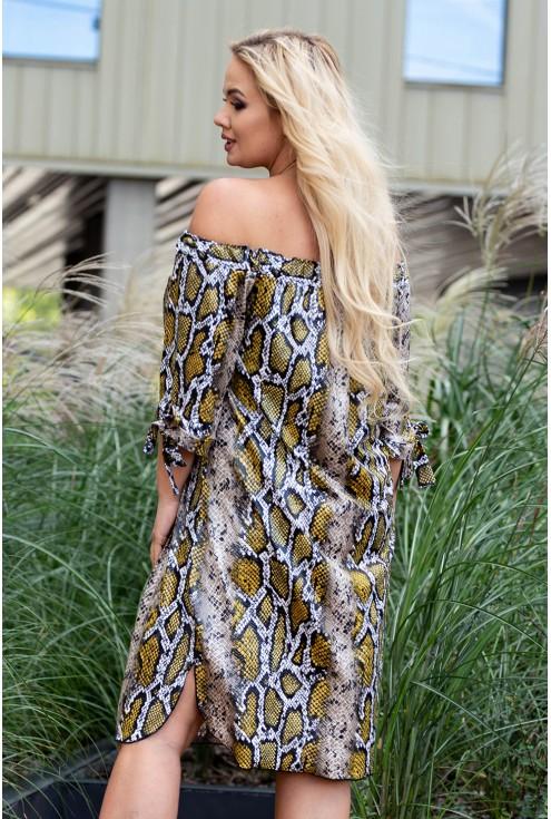 Modna sukienka hiszpanka w skórę węża