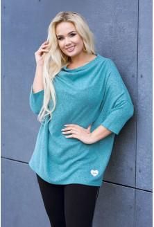 Miętowy luźny sweterek w dużych rozmiarach