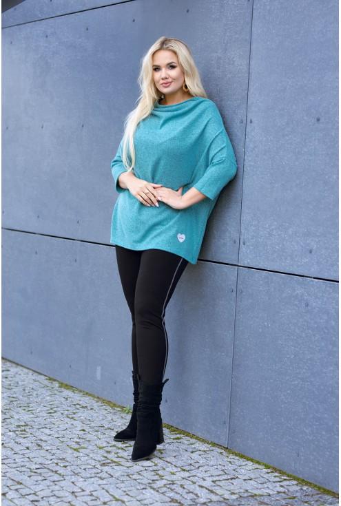 Sweterek xxl w kolorze miętowym